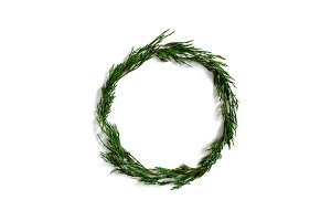 Wreath made from conifer tree branch