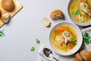 Quail Noodle Soup, Homemade Broth wi