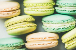 Pastel colored French macaroons