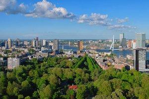 Aerial panorama of Rotterdam city