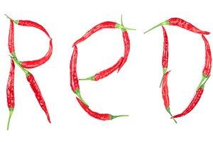 Word red written from hot pepper