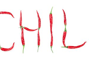 Word chili written from red hot