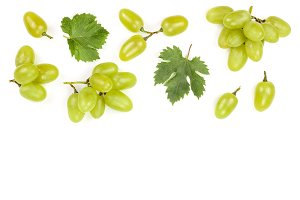 green grapes isolated on the white