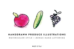 10 Handdrawn Produce Illustrations