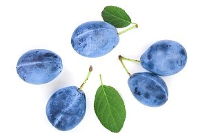 plums with leaf isolated on a white