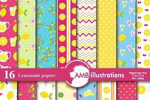 Pink Lemonade Digital Papers AMB-895