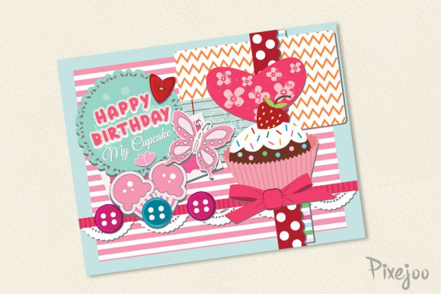 Scrapbook Happy Birthday Card Templates Creative Market