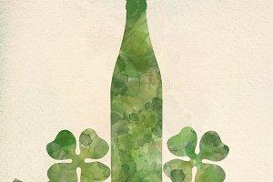 Green beer bottle and four-leaf clov