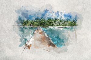 Watercolor painting of wooden jetty