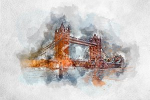 Watercolor painting of Tower Bridge