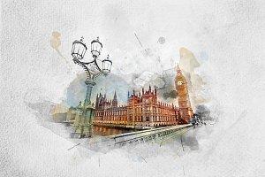 Watercolor painting of Big Ben, Lond