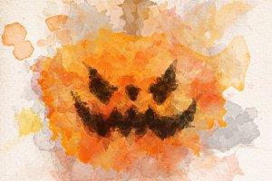 Halloween scary pumpkin in watercolo