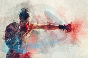 Watercolor painting of boxer strikin