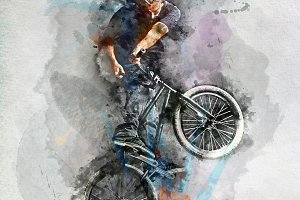 Man doing a stunt on his BMX bicycle