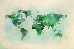 Watercolor vintage world map in gree