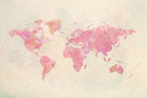Watercolor vintage world map in pink