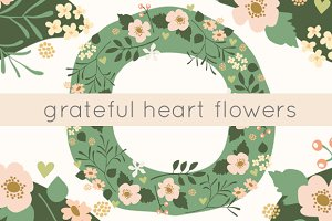 Grateful Hearts Floral Clip Art