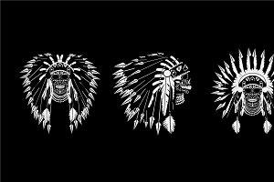 A skull icons American Indian bonet