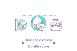 Household chores concept icon