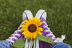 Female legs in purple shoes with sun