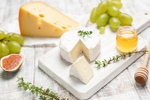 Cheese board with camembert