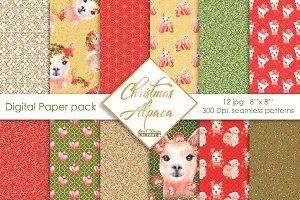 Christmas alpaca digital paper pack