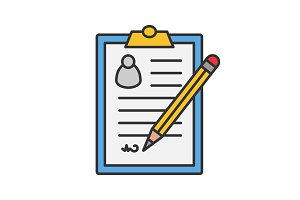 Signed document color icon