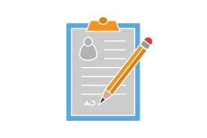 Signed document glyph color icon