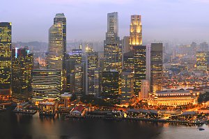 Singapore panorama at sunset