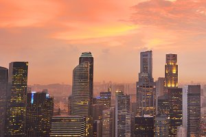 Beautiful Singapore view at sunset