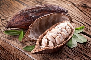 Cocoa pod on a wooden table.
