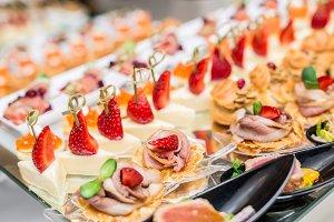 Gourmet appetizers: caviar, venison,