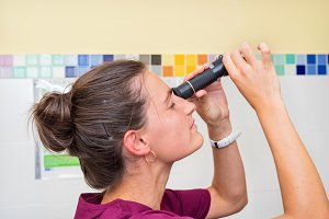 Doctor using refractometer