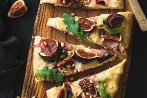 Homemade autumn pizza with figs