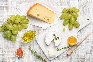 Camembert, yellow cheese, fruits