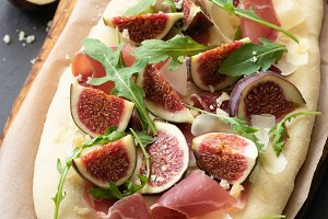 Gourmet pizza or flatbread with figs