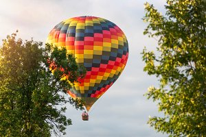 Colorful hot-air balloon flying