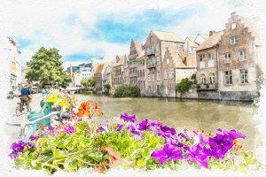 watercolor landscape of Gent