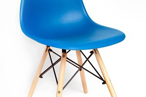 Blue chair with wooden legs
