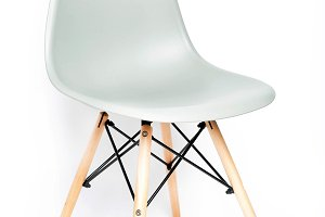 Gray modern chair with wooden legs