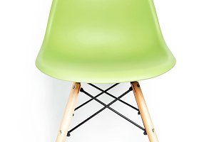 Green modern chair with wooden legs