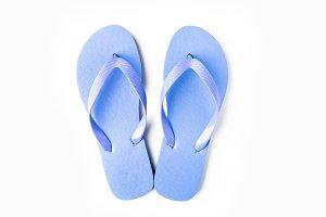 Blue flip flops isolated