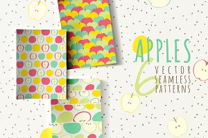 Seamless patterns with apples
