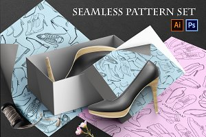 Hand drawn seamless pattern  SHOES