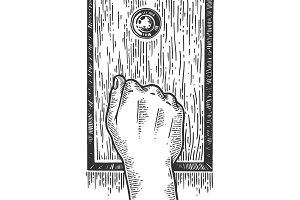 Hand knock door engraving vector