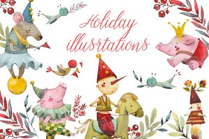 Holiday Watercolor illustrations