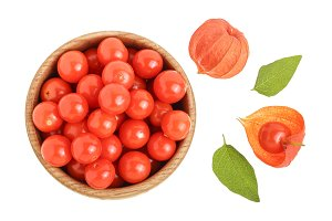 physalis berry in wooden bowl