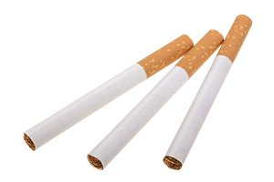 The cigarette isolated on a white