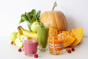 Autumn smoothies on white