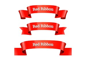 Ribbons set. Realistic Red Glossy